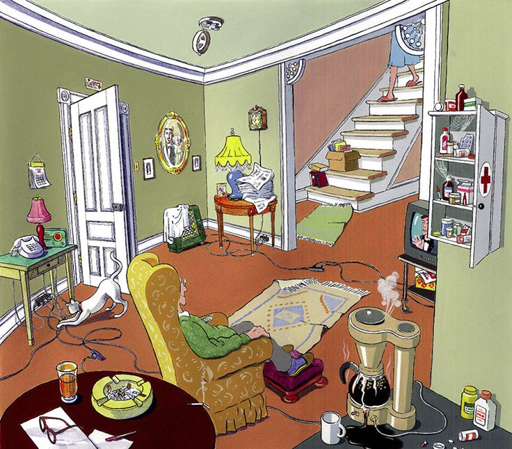 Cartoon depicting cluttered unsafe home